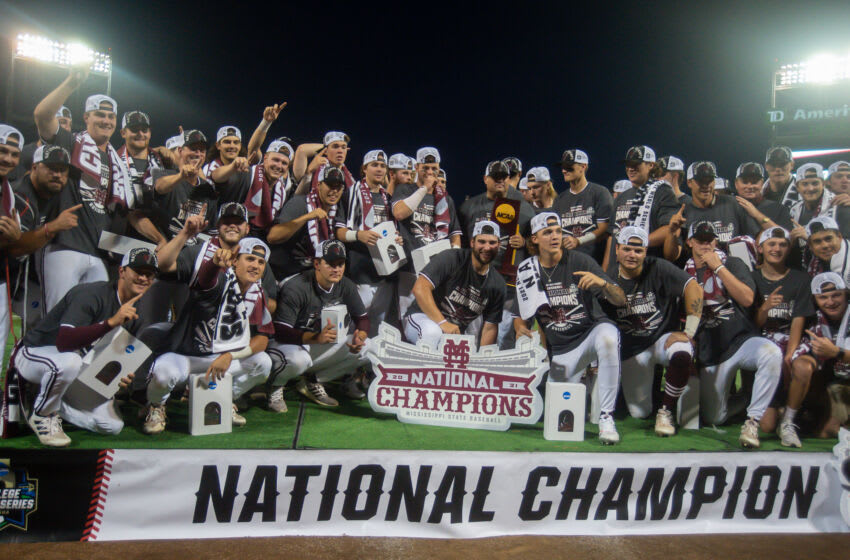 Jun 30, 2021; Omaha, Nebraska, USA; The Mississippi St. Bulldogs pose for a team photo after winning the national championship against the Vanderbilt Commodores at TD Ameritrade Park. Mandatory Credit: Steven Branscombe-USA TODAY Sports