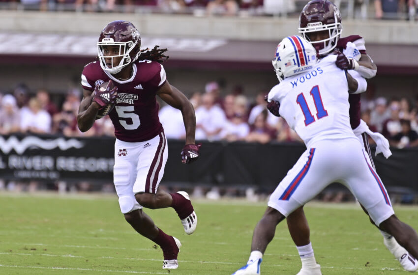 Sep 4, 2021; Starkville, Mississippi, USA; Mississippi State Bulldogs wide receiver Lideatrick Griffin (5) runs the ball against the Louisiana Tech Bulldogs during the first quarter at Davis Wade Stadium at Scott Field. Mandatory Credit: Matt Bush-USA TODAY Sports