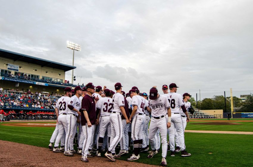 Mississippi State played Texas Tech in a college baseball game at MGM Park in Biloxi on March 10, 2020. The Bulldogs beat the Red Raiders 6-3. mississippi state baseball