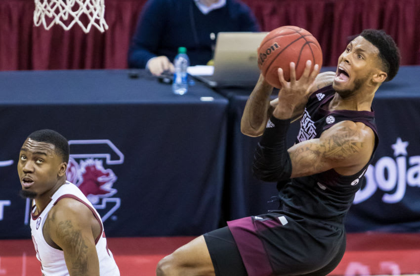 Feb 6, 2021; Columbia, South Carolina, USA; Mississippi State Bulldogs guard D.J. Stewart Jr. (3) drives to the basket against the South Carolina Gamecocks in the first half at Colonial Life Arena. Mandatory Credit: Jeff Blake-USA TODAY Sports