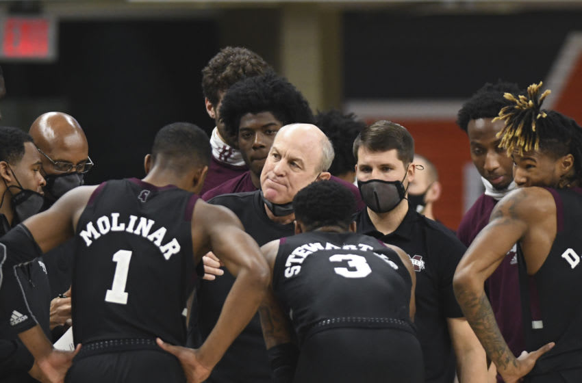 Mar 6, 2021; Auburn, Alabama, USA; Mississippi State Bulldogs head coach Ben Howland talks to the team in a timeout during the second half between the Auburn Tigers and the Mississippi State Bulldogs at Auburn Arena. Mandatory Credit: Julie Bennett-USA TODAY Sports