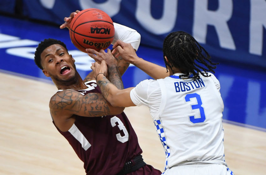 Mar 11, 2021; Nashville, TN, USA; Mississippi State Bulldogs guard D.J. Stewart Jr. (3) tries to pass the ball as he is defended by Kentucky Wildcats guard Brandon Boston Jr. (3) during the first half at Bridgestone Arena. Mandatory Credit: Christopher Hanewinckel-USA TODAY Sports