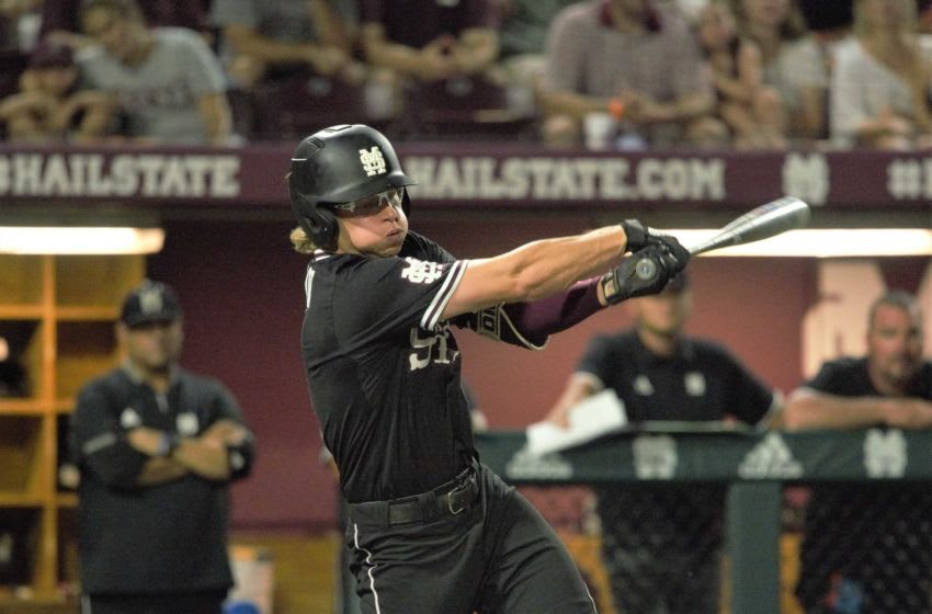 Mississippi State's Rowdey Jordan swings at a pitch during Sunday's Super Regional game against Stanford in Starkville. Rowdey Jordan