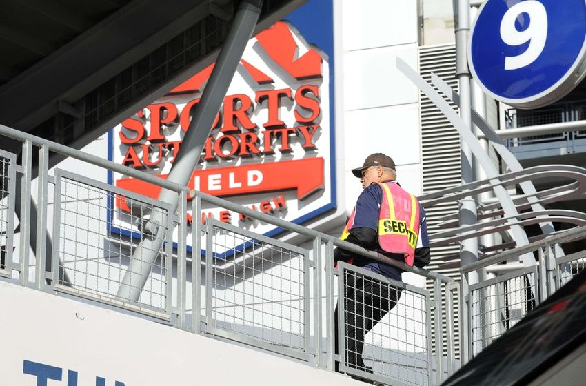 Nov 15, 2015; Denver, CO, USA; General view of stadium security guard on patrol outside of Sports Authority Field at Mile High before the game between the Kansas City Chiefs against the Denver Broncos. Mandatory Credit: Ron Chenoy-USA TODAY Sports