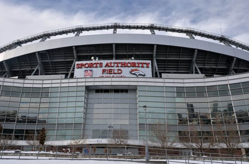 Dec 13, 2015; Denver, CO, USA; General view of snow at Sports Authority Field at Mile High before an NFL football game between the Oakland Raiders and the Denver Broncos. Mandatory Credit: Kirby Lee-USA TODAY Sports