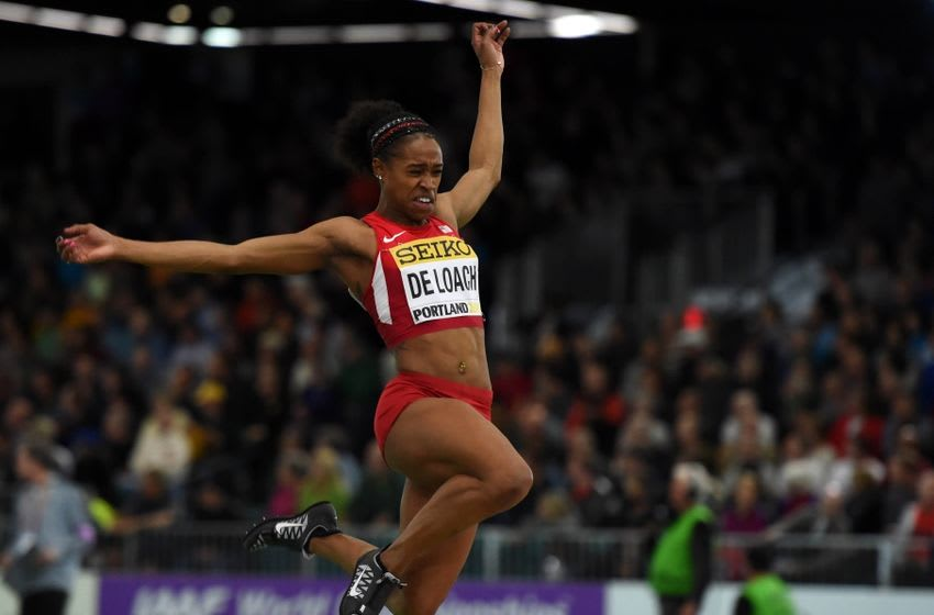 Mar 18, 2016; Portland, OR, USA; Janay DeLoach (USA) places fourth in the womens long jump at 22-7 1/4 (6.89m) during the 2016 IAAF World Championships in Athletics at the Oregon Convention Center. Mandatory Credit: Kirby Lee-USA TODAY Sports