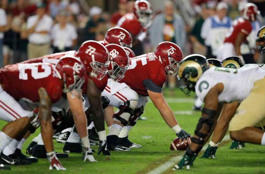 TUSCALOOSA, AL - SEPTEMBER 16: The Alabama Crimson Tide offense lines up against the Colorado State Rams defense at Bryant-Denny Stadium on September 16, 2017 in Tuscaloosa, Alabama. (Photo by Kevin C. Cox/Getty Images)