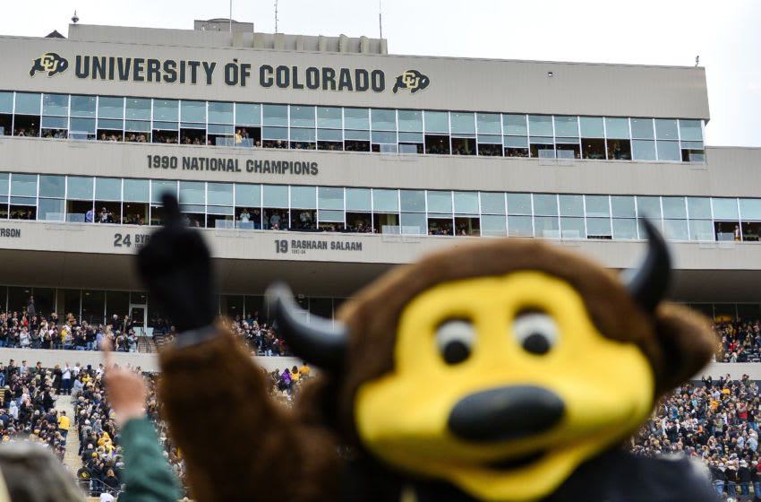 BOULDER, CO - OCTOBER 28: Colorado Buffaloes mascot Chip is in the foreground as the #19 of Rashaan Salaam is unveiled as a retired jersey number on the suites above the stands during a game between the Colorado Buffaloes and the California Golden Bears at Folsom Field on October 28, 2017 in Boulder, Colorado. (Photo by Dustin Bradford/Getty Images)