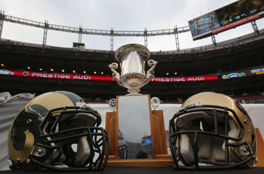 DENVER, CO - AUGUST 29: The Centennial Cup is up for grabs as the Colorado State Rams face he Colorado Buffaloes in the Rocky Mountain Showdown at Sports Authority Field at Mile High on August 29, 2014 in Denver, Colorado. The Colorado State Rams defeated the Colorado Buffaloes 31-17 to capture the Centennial Cup. (Photo by Doug Pensinger/Getty Images)