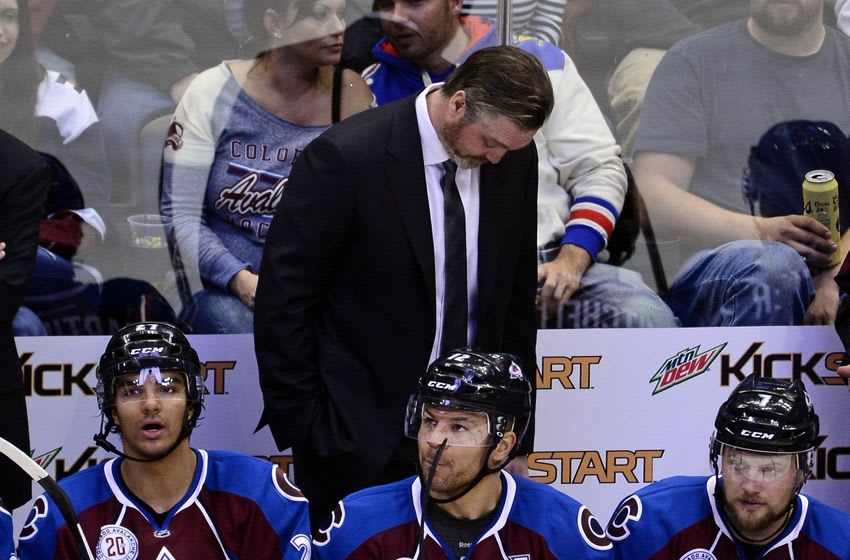 Apr 1, 2016; Denver, CO, USA; Colorado Avalanche head coach Patrick Roy on his bench in the third period against the Washington Capitals at the Pepsi Center. The Capitals defeated the Avalanche 4-2. Mandatory Credit: Ron Chenoy-USA TODAY Sports