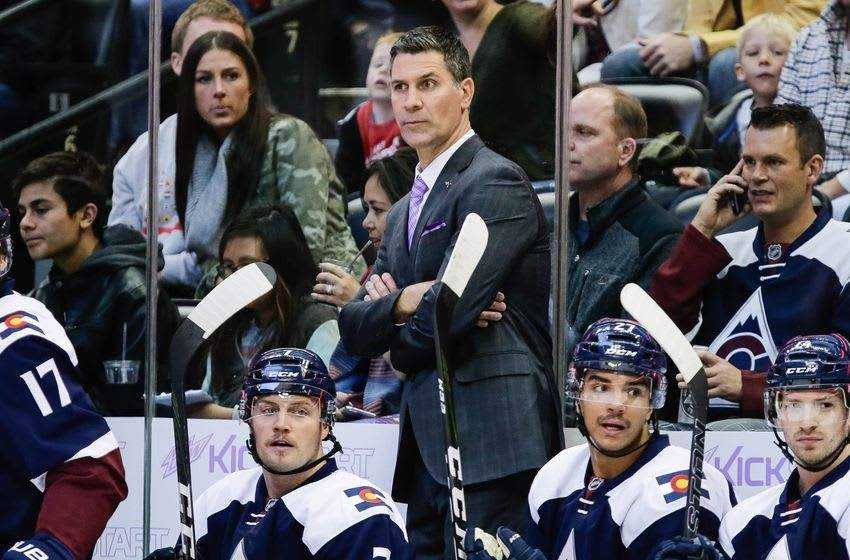 Nov 5, 2016; Denver, CO, USA; Colorado Avalanche head coach Jared Bednar looks on in the first period against the Minnesota Wild at the Pepsi Center. Mandatory Credit: Isaiah J. Downing-USA TODAY Sports