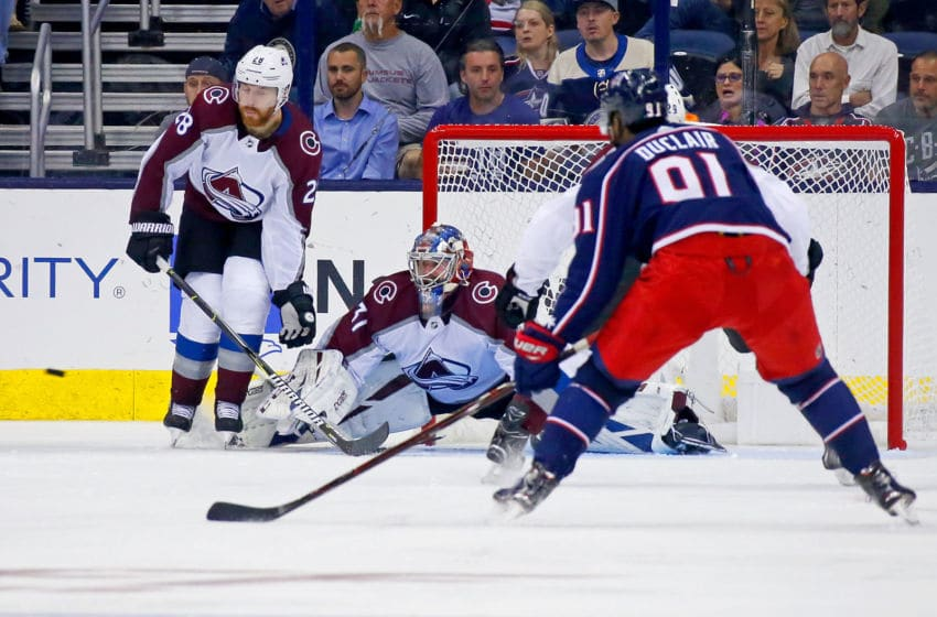 COLUMBUS, OH - OCTOBER 9: Philipp Grubauer #31 of the Colorado Avalanche makes a save during the game against the Columbus Blue Jackets on October 9, 2018 at Nationwide Arena in Columbus, Ohio. Columbus defeated Colorado 5-2. (Photo by Kirk Irwin/Getty Images)