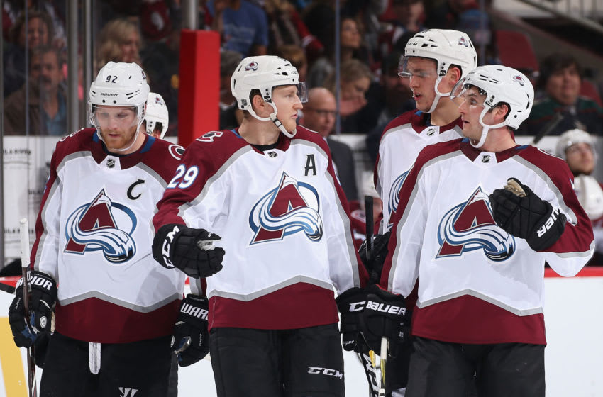 GLENDALE, ARIZONA - DECEMBER 22: (L-R) Gabriel Landeskog #92, Nathan MacKinnon #29, Mikko Rantanen #96 and Alexander Kerfoot #13 of the Colorado Avalanche during the third period of the NHL game against the Arizona Coyotes at Gila River Arena on December 22, 2018 in Glendale, Arizona. The Coyotes defeated the Avalanche 6-4. (Photo by Christian Petersen/Getty Images)