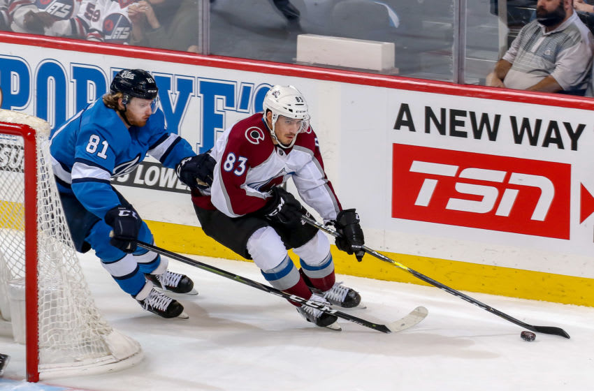WINNIPEG, MB - FEBRUARY 14: Matt Nieto #83 of the Colorado Avalanche plays the puck around the net as Kyle Connor #81 of the Winnipeg Jets gives chase during third period action at the Bell MTS Place on February 14, 2019 in Winnipeg, Manitoba, Canada. (Photo by Jonathan Kozub/NHLI via Getty Images)