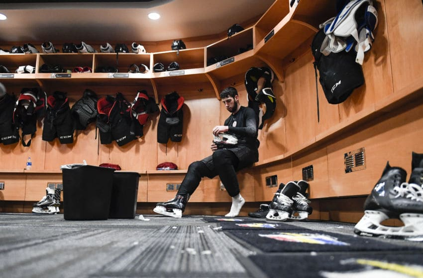 LOVELAND, CO - FEBRUARY 6: Colorado Eagles player Conor Timmins undresses after practice on Wednesday, February 6, 2019. (Photo by AAron Ontiveroz/MediaNews Group/The Denver Post via Getty Images)