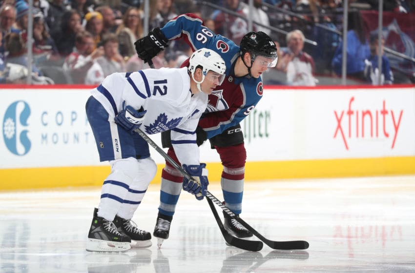 DENVER, CO - FEBRUARY 12: Patrick Marleau #12 of the Toronto Maple Leafs sets up against Mikko Rantanen #96 of the Colorado Avalanche at the Pepsi Center on February 12, 2019 in Denver, Colorado. The Maple Leafs defeated the Avalanche 5-2. (Photo by Michael Martin/NHLI via Getty Images)