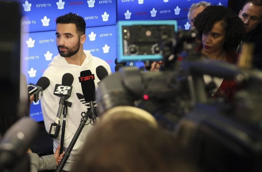 TORONTO, ON - APRIL 25: Nazem Kadri speaks to the media in the locker room. The Toronto Maple Leafs had their final interviews and locker clean out day on Thursday following their loss to the Boston Bruins. Players came out to speak to the media as did the GM and Head coach. (Richard Lautens/Toronto Star via Getty Images)