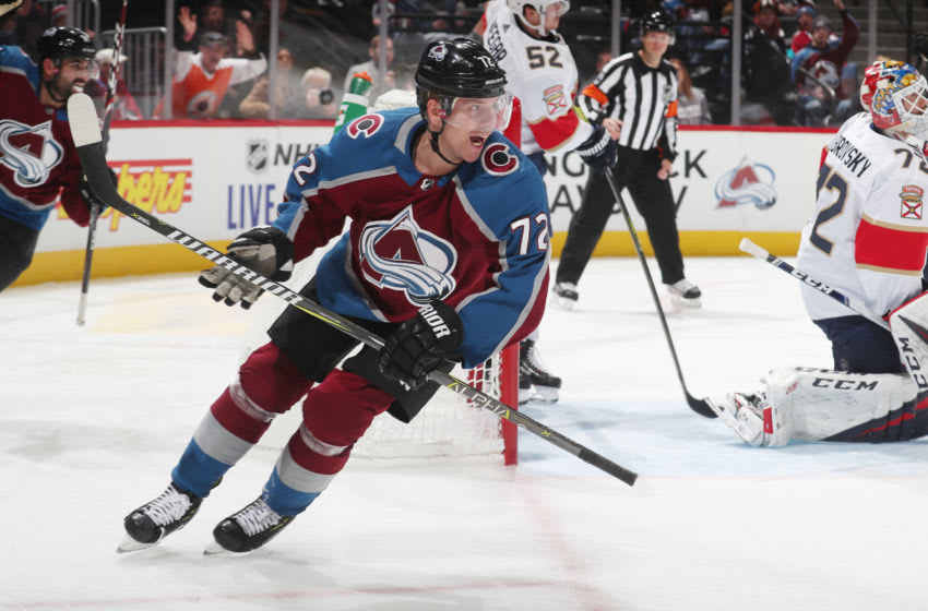 DENVER, COLORADO - OCTOBER 30: Joonas Donskoi #72 of the Colorado Avalanche celebrates after teammate Nathan MacKinnon #29 scores a goal against the Florida Panthers at Pepsi Center on October 30, 2019 in Denver, Colorado. (Photo by Michael Martin/NHLI via Getty Images)