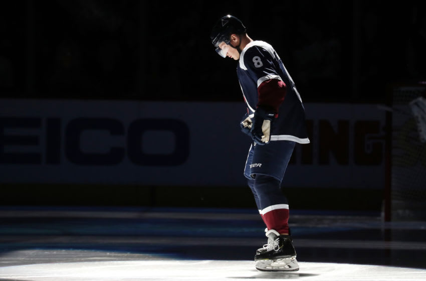 DENVER, COLORADO - OCTOBER 05: Cale Makar #8 of the Colorado Avalanche is introduced prior to the game against the Minnesota Wild at Pepsi Center on October 05, 2019 in Denver, Colorado. (Photo by Michael Martin/NHLI via Getty Images)