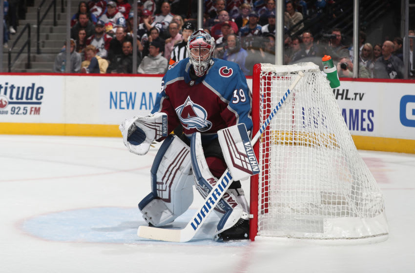 DENVER, CO - OCTOBER 26: Goaltender Pavel Francouz #39 of the Colorado Avalanche stands ready against the Anaheim Ducks at Pepsi Center on October 26, 2019 in Denver, Colorado. The Ducks defeated the Avalanche 5-2. (Photo by Michael Martin/NHLI via Getty Images)