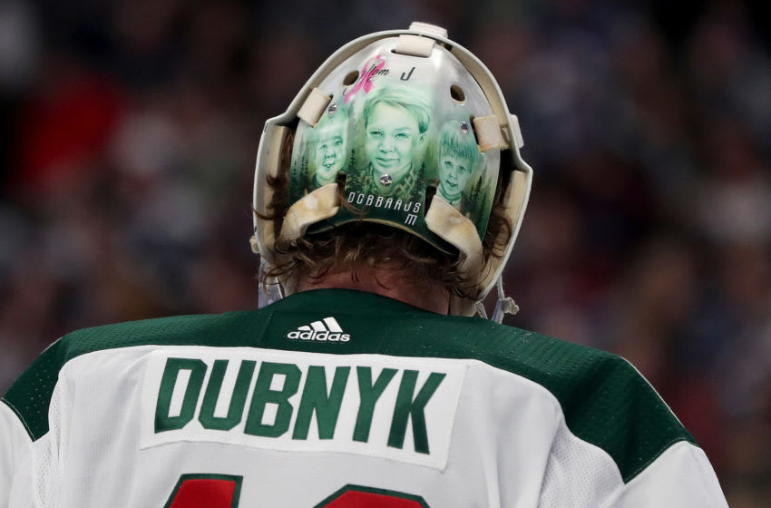 DENVER, COLORADO - DECEMBER 27: Devan Dubnyk #40 of the Minnesota Wild tends goal against the Colorado Avalanche at the Pepsi Center on December 27, 2019 in Denver, Colorado. (Photo by Matthew Stockman/Getty Images)