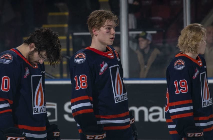 KELOWNA, BC - JANUARY 11: Connor Zary #18 of the Kamloops Blazers lines up against the Kelowna Rockets at Prospera Place on January 11, 2020 in Kelowna, Canada. (Photo by Marissa Baecker/Getty Images)
