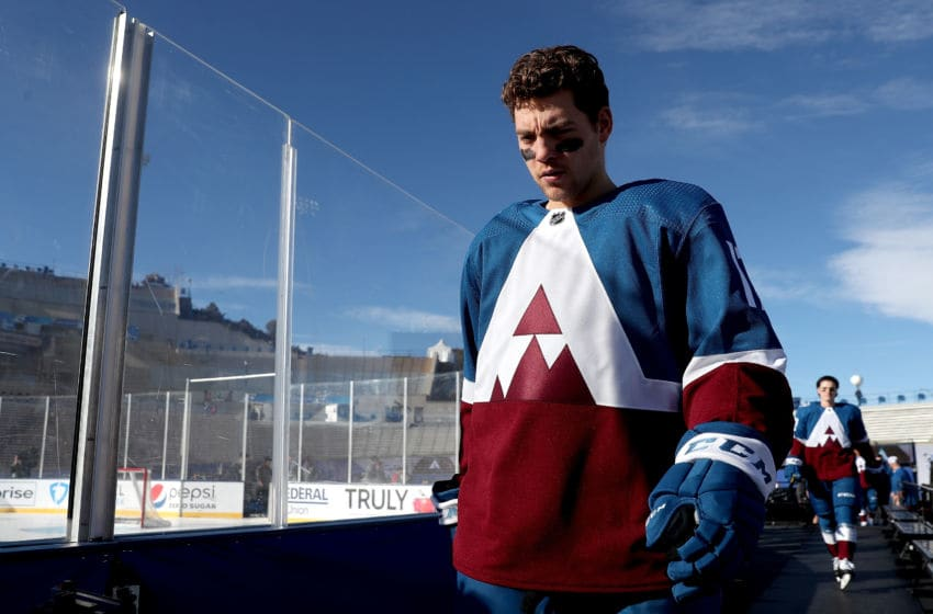 COLORADO SPRINGS, COLORADO - FEBRUARY 14: Tyson Jost #17 of the Colorado Avalanche walks to the ice for practice prior to the 2020 NHL Stadium Series game against the Los Angeles Kings at Falcon Stadium on February 14, 2020 in Colorado Springs, Colorado. (Photo by Matthew Stockman/Getty Images)