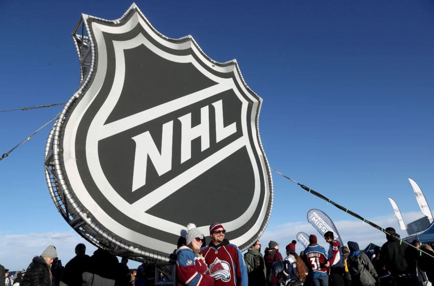 COLORADO SPRINGS, COLORADO - FEBRUARY 15: Fans participate in the pregame fan fest prior to the 2020 NHL Stadium Series game between the Colorado Avalanche and the Los Angels Kings at Falcon Stadium on February 15, 2020 in Colorado Springs, Colorado. (Photo by Matthew Stockman/Getty Images)