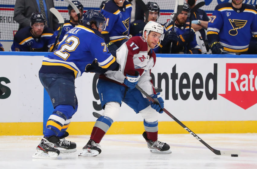 ST LOUIS, MO - APRIL 22: Justin Faulk #72 of the St. Louis Blues defends against Tyson Jost #17 of the Colorado Avalanche in the third period at Enterprise Center on April 22, 2021 in St Louis, Missouri. (Photo by Dilip Vishwanat/Getty Images)