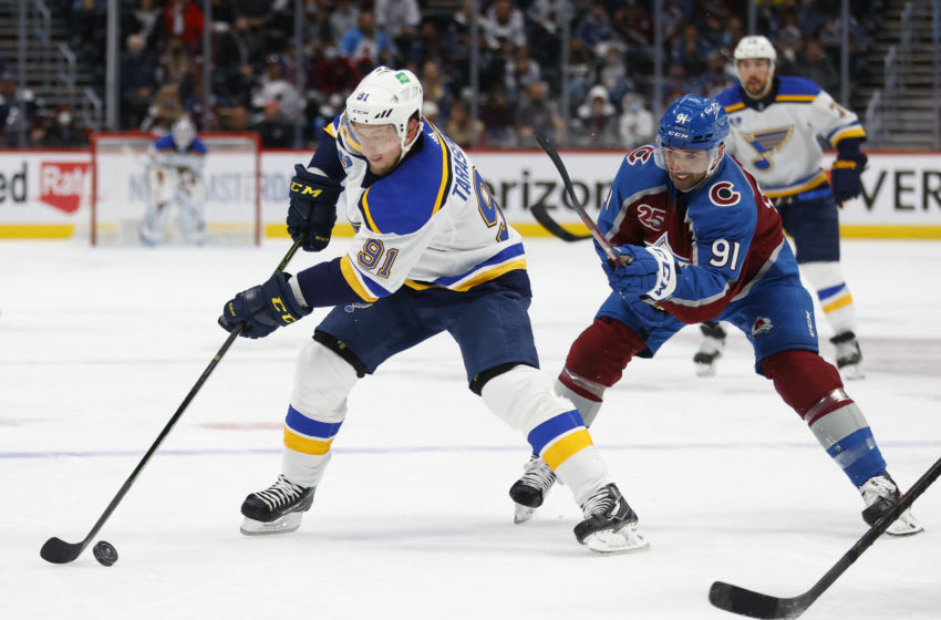 DENVER, CO - MAY 17: Vladimir Tarasenko #91 of the St. Louis Blues controls the puck against Nazem Kadri #91 of the Colorado Avalanche during the first period in Game One of the First Round of the 2021 Stanley Cup Playoffs at Ball Arena on May 17, 2021 in Denver, Colorado. (Photo by Justin Edmonds/Getty Images)