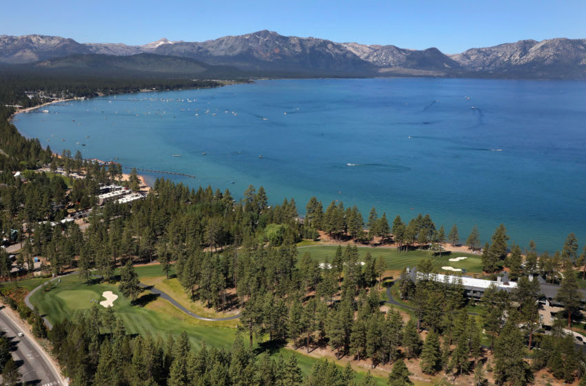 SOUTH LAKE TAHOE, NEVADA - JULY 12: Aerial view over the eighth and ninth holes at Edgewood Tahoe South course during the final round of the American Century Championship on July 12, 2020 in South Lake Tahoe, Nevada. (Photo by Christian Petersen/Getty Images)