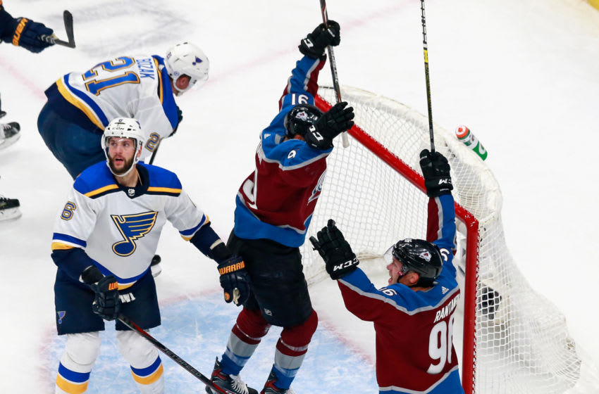 EDMONTON, ALBERTA - AUGUST 02: Nazem Kadri #91 of the Colorado Avalanche scores the game winning goal against the St. Louis Blues at the 20 minute mark of the third period in a Round Robin game during the 2020 NHL Stanley Cup Playoff at the Rogers Place on August 02, 2020 in Edmonton, Alberta, Canada. The Avalanche defeated the Blues 2-1. (Photo by Jeff Vinnick/Getty Images)