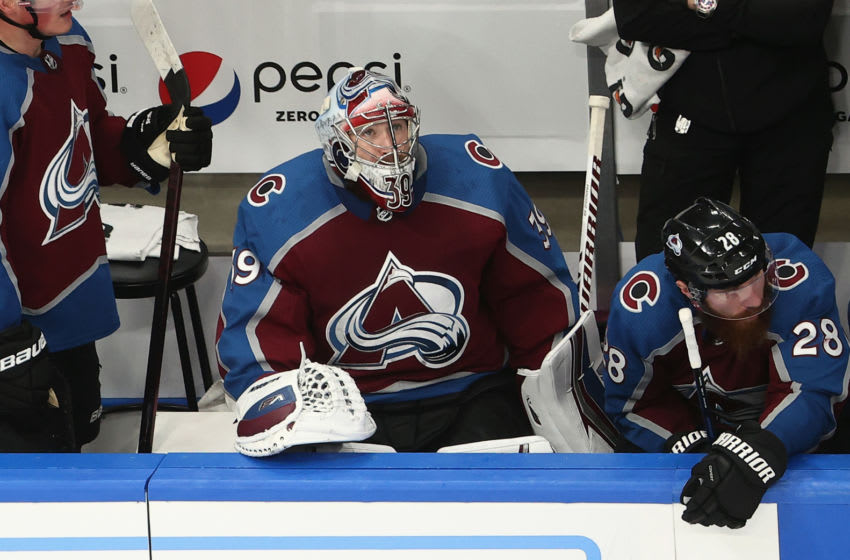 EDMONTON, ALBERTA - AUGUST 24: Pavel Francouz #39 of the Colorado Avalanche sits on the bench during the closing minutes of the game against the Dallas Stars in Game Two of the Western Conference Second Round during the 2020 NHL Stanley Cup Playoffs at Rogers Place on August 24, 2020 in Edmonton, Alberta, Canada. (Photo by Bruce Bennett/Getty Images) (Photo by Bruce Bennett/Getty Images)