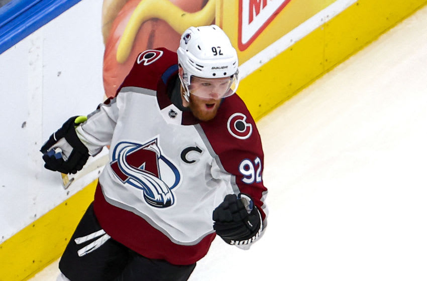 EDMONTON, ALBERTA - AUGUST 26: Gabriel Landeskog #92 of the Colorado Avalanche celebrates after scoring a goal against the Dallas Stars during the second period in Game Three of the Western Conference Second Round during the 2020 NHL Stanley Cup Playoffs at Rogers Place on August 26, 2020 in Edmonton, Alberta. (Photo by Bruce Bennett/Getty Images)