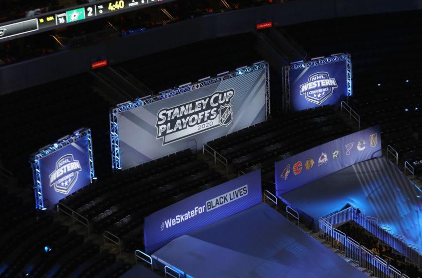 EDMONTON, ALBERTA - AUGUST 31: Signage promote the NHL social initiative of 'We Skate For Black Lives