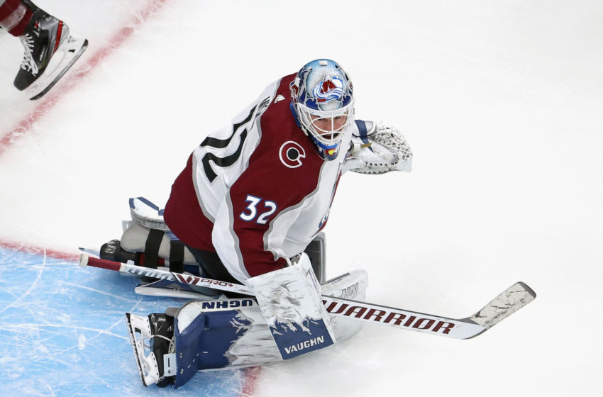 EDMONTON, ALBERTA - SEPTEMBER 02: Hunter Miska #32 of the Colorado Avalanche tends net in warm-ups prior to the game against the Dallas Stars in Game Six of the Western Conference Second Round during the 2020 NHL Stanley Cup Playoffs at Rogers Place on September 02, 2020 in Edmonton, Alberta, Canada. (Photo by Bruce Bennett/Getty Images)