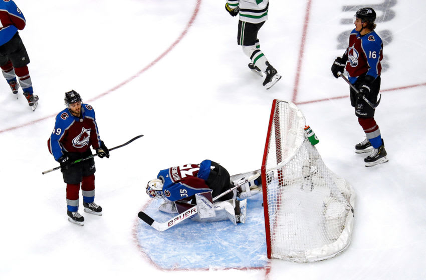 EDMONTON, ALBERTA - SEPTEMBER 04: Michael Hutchinson #35 of the Colorado Avalanche reacts after allowing the game-winning goal to Joel Kiviranta (not pictured) of the Dallas Stars during the first overtime period to lose Game Seven of the Western Conference Second Round during the 2020 NHL Stanley Cup Playoffs at Rogers Place on September 04, 2020 in Edmonton, Alberta, Canada. (Photo by Bruce Bennett/Getty Images)