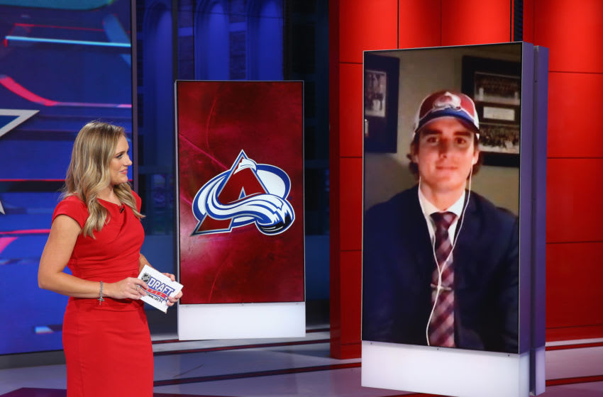 SECAUCUS, NEW JERSEY - OCTOBER 06: With the 25th pick of the 2020 NHL Draft Justin Barron from Halifax of the QMJHL is selected by the Colorado Avalanche at the NHL Network Studio on October 06, 2020 in Secaucus, New Jersey. (Photo by Mike Stobe/Getty Images)
