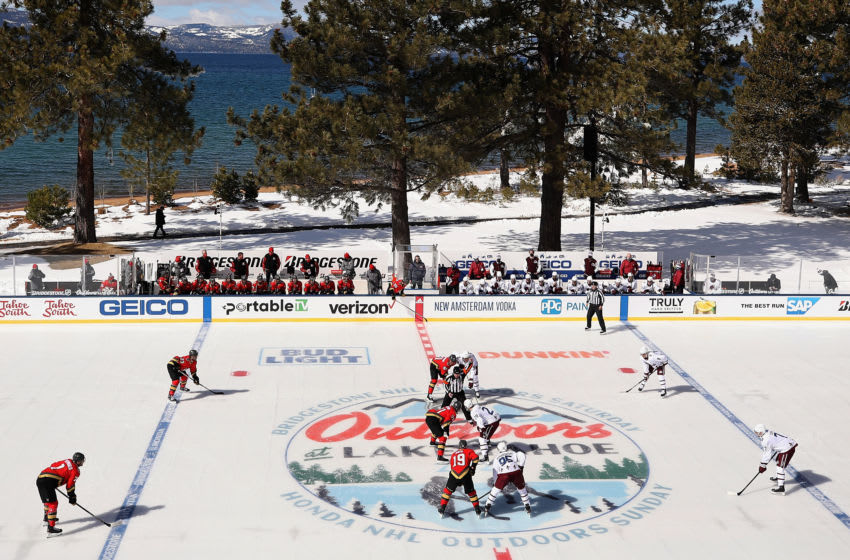 STATELINE, NEVADA - FEBRUARY 20: The Vegas Golden Knights and the Colorado Avalanche prepares to face-off to start the 'NHL Outdoors At Lake Tahoe' at the Edgewood Tahoe Resort on February 20, 2021 in Stateline, Nevada. (Photo by Christian Petersen/Getty Images)