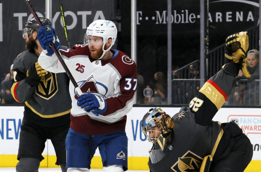 LAS VEGAS, NEVADA - JUNE 10: Marc-Andre Fleury #29 of the Vegas Golden Knights regains his balance after J.T. Compher #37 of the Colorado Avalanche ran into hiim in the first period in Game Six of the Second Round of the 2021 Stanley Cup Playoffs at T-Mobile Arena on June 10, 2021 in Las Vegas, Nevada. The Golden Knights defeated the Avalanche 6-3 to win the series. (Photo by Ethan Miller/Getty Images)