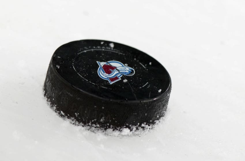 DENVER, CO - MARCH 03: A detail photo of the puck on the ice as the Pittsburgh Penguins face the Colorado Avalanche at the Pepsi Center on March 3, 2012 in Denver, Colorado. The Penguins defeated the Avalanche 5-1. (Photo by Doug Pensinger/Getty Images)