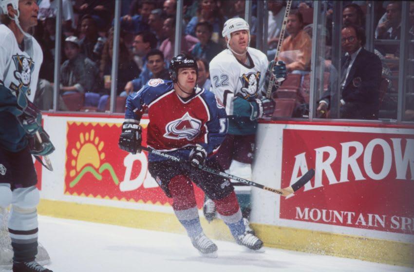15 NOV 1995: COLORADO FORWARD ANDREI KOVALENKO SKATES DOWN ICE DURING THE AVALANCHE 7-3 LOSS TO THE ANAHEIM MIGHTY DUCKS AT THE POND IN ANAHEIM, CALIFORNIA. Mandatory Credit: Glenn Cratty/ALLSPORT