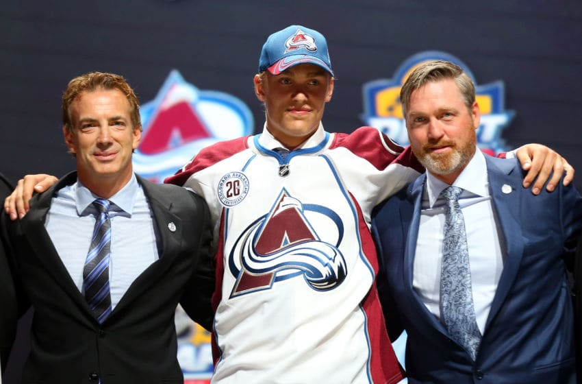 SUNRISE, FL - JUNE 26: Mikko Rantanen poses after being selected tenth overall by the Colorado Avalanche in the first round of the 2015 NHL Draft at BB