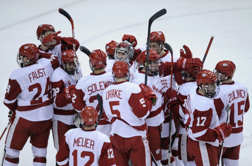 ST PAUL, MN - MARCH 21: The Wisconsin Badgers celebrate a win of the semifinal game of the Big Ten Men's Ice Hockey Championship against the Penn State Nittany Lions on March 21, 2014 at Xcel Energy Center in St Paul, Minnesota. The Wisconsin Badgers defeated the Penn State Nittany Lions 2-1. (Photo by Hannah Foslien/Getty Images)