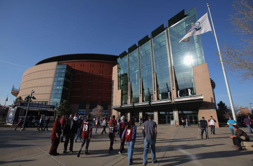 DENVER, CO - APRIL 17: Fans head for the arena as the Minnesota Wild face the Colorado Avalanche in Game One of the First Round of the 2014 NHL Stanley Cup Playoffs at Pepsi Center on April 17, 2014 in Denver, Colorado. The Avalanche defeated the Wild 5-4 in overtime to take a 1-0 game advantage in the series. (Photo by Doug Pensinger/Getty Images)