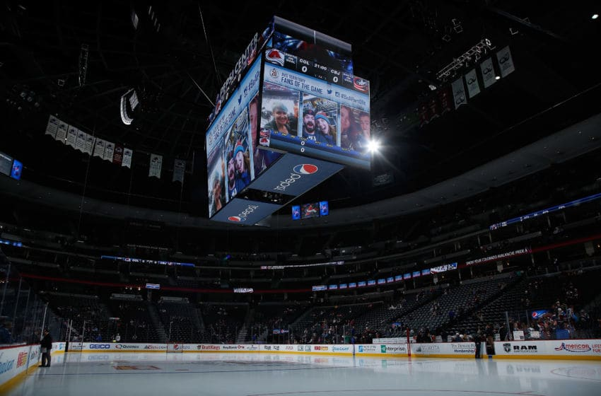 DENVER, CO - OCTOBER 24: The ice sheet is prepared for the Columbus Blue Jackets to face the Colorado Avalanche at Pepsi Center on October 24, 2015 in Denver, Colorado. The Blue Jackets defeated the Avalanche 4-3. (Photo by Doug Pensinger/Getty Images)
