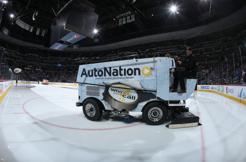 DENVER, CO - DECEMBER 21: The Zamboni prepares the ice as the Denver Nuggets host the Toronto Maple Leafs at Pepsi Center on December 21, 2015 in Denver, Colorado. (Photo by Doug Pensinger/Getty Images)