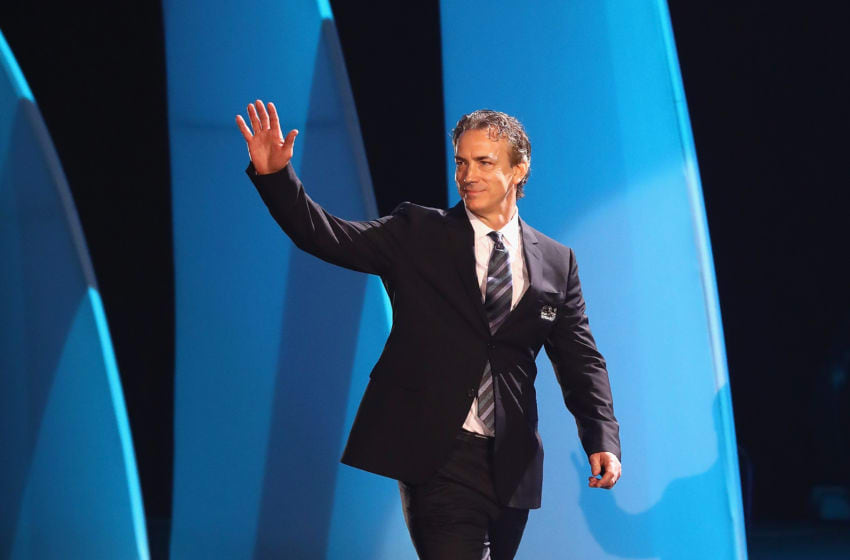 LOS ANGELES, CA - JANUARY 27: Former NHL player Joe Sakic is introduced during the NHL 100 presented by GEICO Show as part of the 2017 NHL All-Star Weekend at the Microsoft Theater on January 27, 2017 in Los Angeles, California. (Photo by Bruce Bennett/Getty Images)