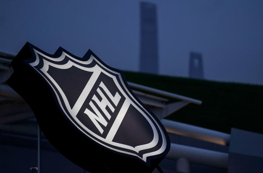 SHANGHAI, CHINA - SEPTEMBER 21: A NHL logo was showed outside of Mercedes-Benz Arena prior to a pre-season National Hockey League game between the Vancouver Canucks and the LA Kings at Mercedes-Benz Arena on September 21, 2017 in Shanghai, China. (Photo by Yifan Ding/NHLI via Getty Images)