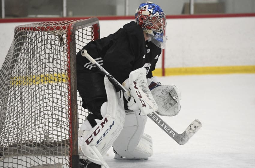 ENGLEWOOD, CO - SEPTEMBER 27: Colorado Avalanche goalie Semyon Varlamov #1 in goal during practice at the Family Sports Center September 27, 2017. (Photo by Andy Cross/The Denver Post via Getty Images)